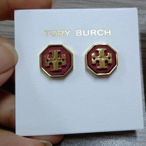 🎅Tory Burch Hexagonal Leather Stud Earrings